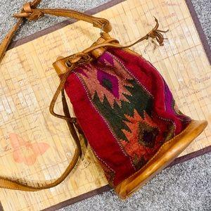 Mexican Tapestry Drawstring Bucket Bag